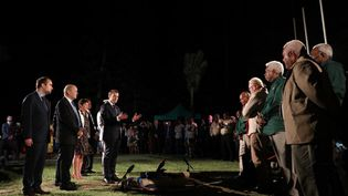 Emmanuel Macron, lors d'une cérémonie à Nouméa (Nouvelle-Calédonie), le 3 mai 2018. (LUDOVIC MARIN / AFP)