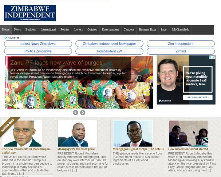 La Une de «Zimbabwe Independent» (DR, capture d'écran de «Zimbabwe Independent»)