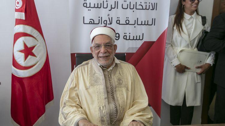 Abdelfattah Mourou, candidat d'Ennahda, le parti religieux, à la présidentielle tunisienne le 9 aôut 2019. Ennahda n'avait pas présenté de candidat officiel lors de la présidentielle de 2014. (YASSINE GAIDI / ANADOLU AGENCY)