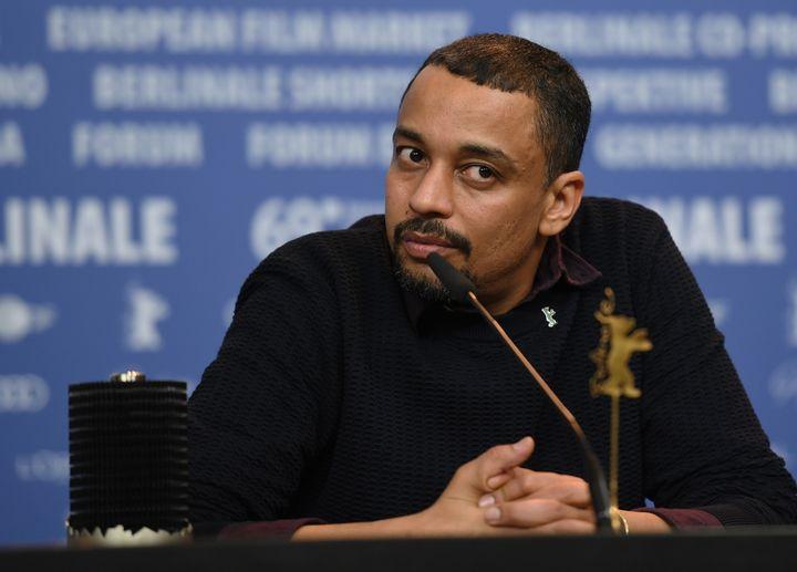 Le cinéaste soudanaisSuhaib Gasmelbari lors d'une conférence de presse en marge de la 69e édition de la Berlinale,le 16 février 2019, à Berlin (Allemagne). (EKATERINA CHESNOKOVA / SPUTNIK)