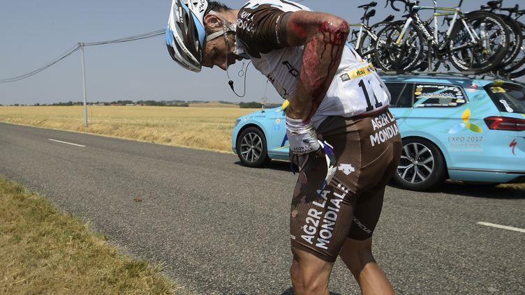 Jean-Christophe Peraud, juste après sa chute.  (LIONEL BONAVENTURE / AFP)