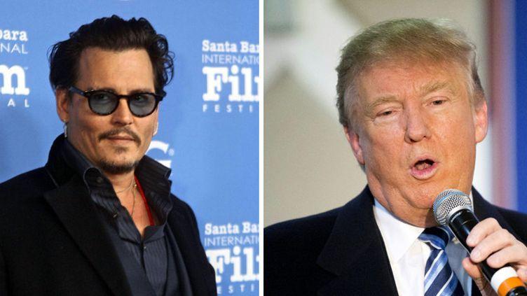 Johnny Depp le 4 février 2016 à Santa Barbara, en Californie ; Donald Trump le 8 février 2016 à Londonderry, dans le New Hampshire, USA  (Rod Rolle / Sipany - David Goldman / AP (Sipa))