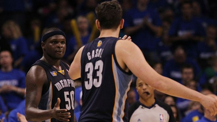 Zach Randolph et Marc Gasol (Memphis) (RONALD MARTINEZ / GETTY IMAGES NORTH AMERICA)