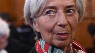 Christine Lagarde, à la Cour de justice de la république le 12 décembre, n'était pas présente le jour de son jugement, lundi 19 décembre. (MARTIN BUREAU / AFP)