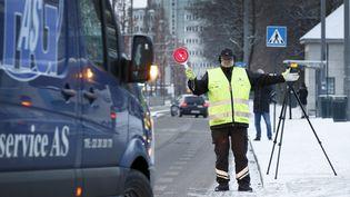 Une opération de limitation de circulation des véhicules diesel lors d'un pic de pollution à Oslo en janvier 2017 (KALLESTAD, GORM / NTB SCANPIX MAG)