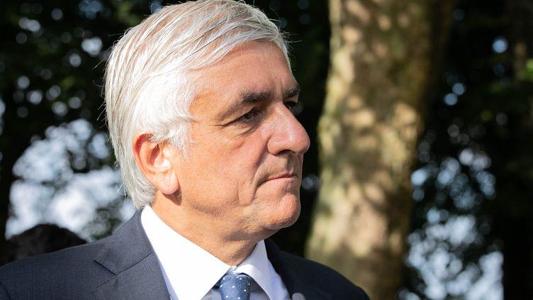 Leprésident du parti Les centristes et de la région Normandie, ex-ministre de la Défense, Hervé Morin, le 1er septembre 2019. (LOU BENOIST / AFP)