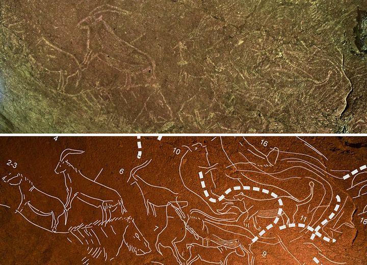 Les gravures mises en parallèle avec une image surlignant leur dessin.  (HO / Diputacion Foral de Bizkaia / AFP)