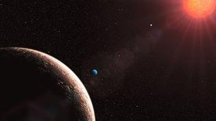 llustration de l'exoplanète Gliese 581e (en bleu), dans le système de l'étoile Gliese, situé à trente-six années-lumière de la Terre. (ESO / AFP)
