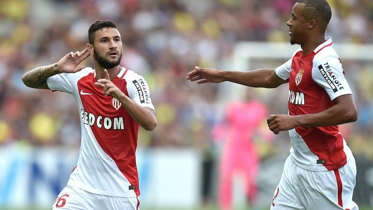 Le Monégasque Gabriel Boschilia célèbre son but contre Nantes.  (JEAN-SEBASTIEN EVRARD / AFP)