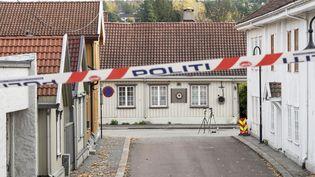 La police poursuit ses recherches sur les lieux d'une attaque à l'arc et aux flèches à Kongsberg (Norvège), le 15 octobre 2021. (TERJE PEDERSEN / NTB / AFP)