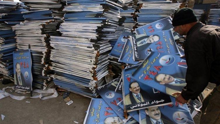 Des affiches de campagne pour les législatives du 7 mars 2010 en Irak. (AFP/ALI AL-SAADI)