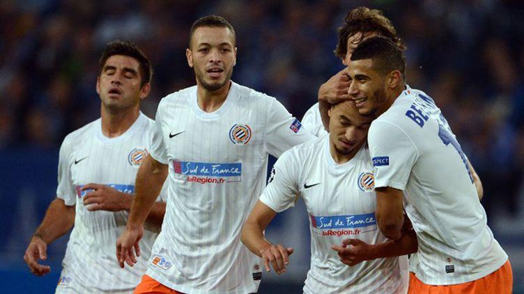 Les joueurs de Montpellier heureux (JOHANNES EISELE / AFP)
