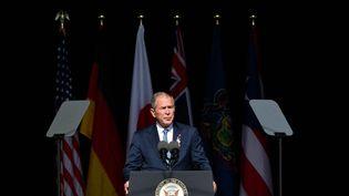 L'ancien président des Etats-Unis George W. Bush lors des commémorations du 11-septembre à Shanksville (Pennsylvanie), le 11 septembre 2021. (MANDEL NGAN / AFP)