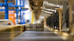 Un colis circule sur une chaîne dans un entrepôt d'Amazon, à Chalon-sur-Saône (Saône-et-Loire), le 13 décembre 2012. (PHILIPPE MERLE / AFP)