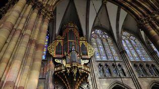 L'orgue de la cathédrale de Strasbourg (Bas-Rhin), le 2 avril 2021. (BRINGARD DENIS / HEMIS.FR / AFP)