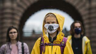 La militante suédoise Greta Thunberg lors d'une manifestation pour le climat, à Stockholm (Suède), le 9 octobre 2020. (JONATHAN NACKSTRAND / AFP)