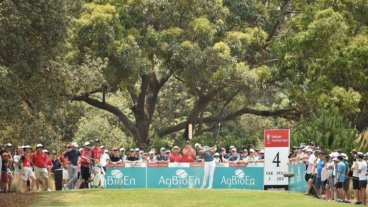 Le golfeur américain Cameron Tringale, lors de la quatrième journée du tournoi de golf de l'Australie Open, en 2019.  (PETER PARKS / AFP)