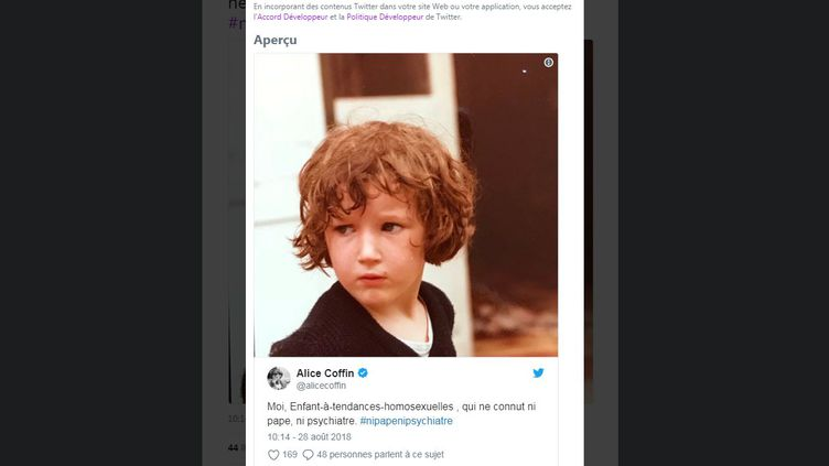 Le tweet et le hashtag d'Alice Coffin, postés mardi 28 août 2018 sur Twitter, ont été largement relayés. (FRANCEINFO / TWITTER ALICE COFFIN)