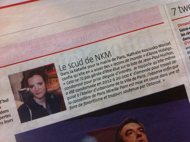 """Photo de l'""""indiscret"""" du """"Journal du dimanche"""" du 31 mars rapportant les propos contestés de Nathalie Kosciusko-Morizet. (JDD / FTVI)"""
