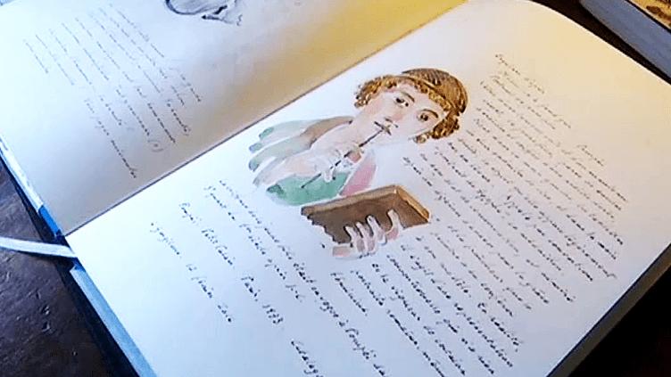 """Georges Lemoine """"Carnet d'un illustrateur"""" à la BnF jusqu'au 5 juin 2016  (France 3 / Culturebox / capture d'écran)"""