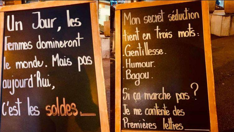 """Deux messages """"humoristiques"""" sexistes affichés devant le restaurant de Rueil-Malmaison. (FRANCEINFO / Captures d'écran)"""