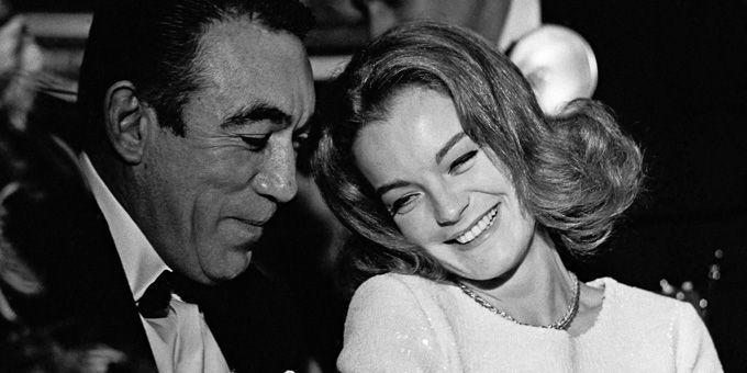 """Romy Schneider avec Anthony Quinn à Cannes pour la présentation du """"Cardinal"""" d'Otto Preminger en 1963  (Dalmas / SIPA)"""
