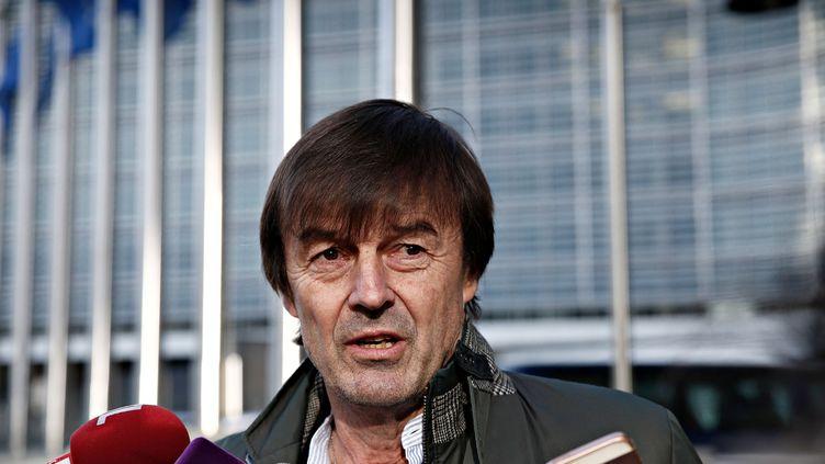 Le ministre de la Transition écologique, Nicolas Hulot, devant la Commission européenne, le 30 janvier 2018. (ALEXANDROS MICHAILIDIS / SOOC / AFP)