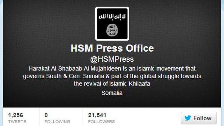 Twitter a suspendu le compte en anglais utilisé par les islamistes somaliens shebab, le 25 janvier 2013. (TWITTER / FRANCETV INFO)