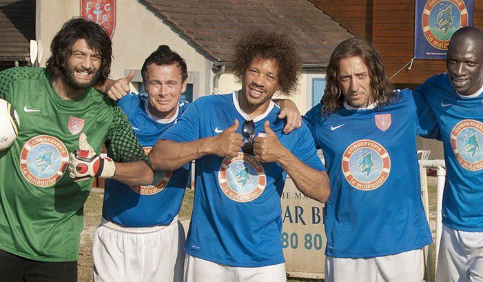 "Ramzy Bédia, Franck Dubosc, Joey Starr, Gad Elmaleh et Omar Sy, dans ""Les Seigneurs"", d'Olivier Dahan, sorti en septembre 2012. (WARNER BROS)"