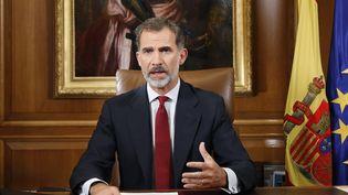 Le roi d'Espagne, Felipe VI, lors d'une allocution télévisée au sujet du référendum d'autodétermination de la Catalogne, le 3 octobre 2017. (FRANCISCO GOMEZ  CASA REAL / CASA REAL)