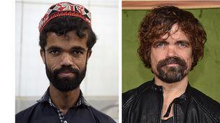Le serveur pakistanais Rozi Khan et l'acteur Peter Dinklage  (Aamir QURESHI, Chris DELMAS / AFP)