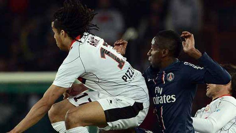 Kévin Anin avait joué son dernier match sous la tunique niçoise contre le PSG la saison dernière.  (FRANCK FIFE / AFP)