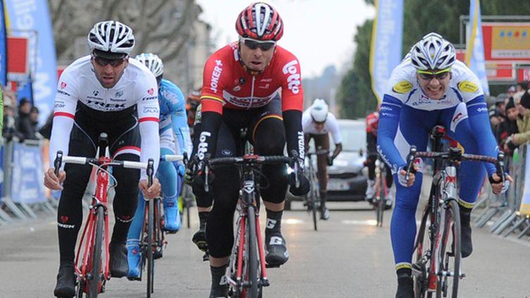 Boeckmans remporte au sprint la première étape.  (SYLVAIN THOMAS / AFP)