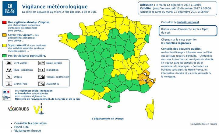 Trois départements sont placés en vigilance orange aux avalanches par Météo France :les Alpes-de-Haute-Provence, les Hautes-Alpes, les Alpes-Maritimes. (METEO FRANCE)