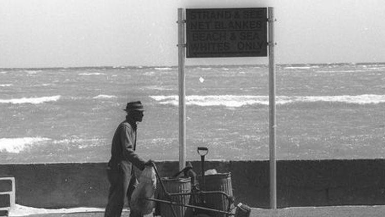 Un travailleur noir longeant une plage réservé aux Blancs. Sur le panneau, l'indication est sans équivoque: «Beach & Sea: Whites Only», «Plage et mer: Blancs seulement (10-11-1988). (Reuters - Ulli Michel)