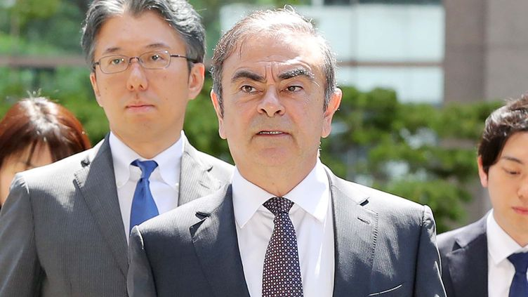 Carlos Ghosn, ancien dirigeant de Renault et Nissan arrive au palais de justice de Tokyo, la capitale japonaise, le 23 mai 2019. (ICHIRO OHARA / YOMIURI / AFP)