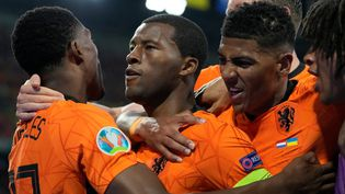 Georginio Wijnaldum a libéré les Pays-Bas en ouvrant le score contre l'Ukraine le 13 juin 2021. (PETER DEJONG / POOL)