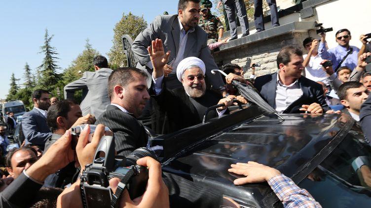 Le président iranien Hassan Rohani, à Téhéran (Iran), le 28 septembre 2013. (ATTA KENARE / AFP)