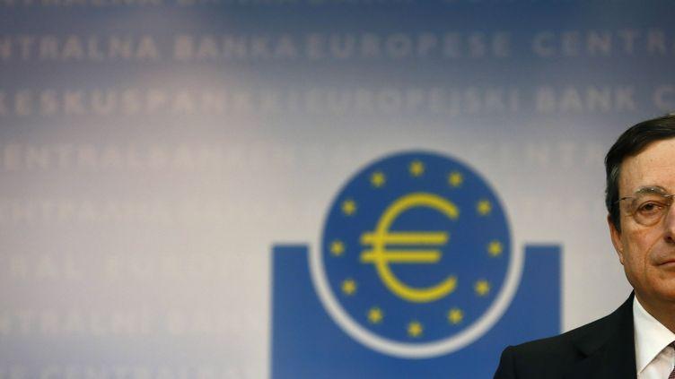 Le président de la Banque centrale européenne, Mario Draghi, le 4 avril 2012, à Francfort (Allemagne). (KAI PFAFFENBACH /REUTERS)