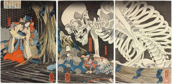 Takiyasha la sorcière et le fantôme du squelette (1844) de Kuniyoshi. (CR)