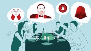 """La folie du bitcoin, le nouveau """"Star Wars"""" ou le hashtag #balancetonporc risquent bien d'être mis sur la table lors de vos repas de fin d'année. (BAPTISTE BOYER / AWA SANE / FRANCEINFO)"""