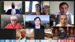 """Des députés débattent sur le projet de loi Climat sur Twitch, le 29 mars 2021. (CAPTURE ECRAN """"DEBAT SANS FILTRE"""" / TWITCH)"""