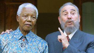 Fidel Castro rend visite à Nelson Mandela à son domicile de Johannesburg (Afrique du Sud), le 2 septembre 2001. (REUTERS)