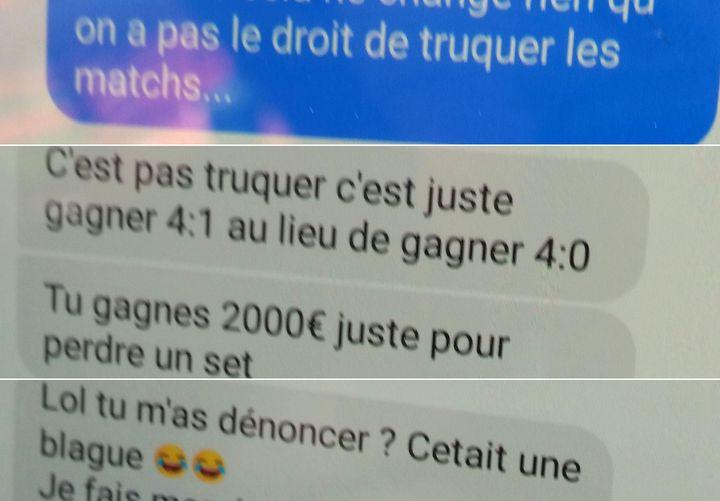 Capture d'écran d'un extrait de l'échange Facebook entreune joueuse de tennis de table et un corrupteur. (CECILIA ARBONA / RADIO FRANCE)