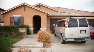 La maison de la ville de Perris, en Californie (Etats-Unis), où ont été découvert les enfants maltraités d'un couple. (SANDY HUFFAKER / GETTY IMAGES NORTH AMERICA / AFP)