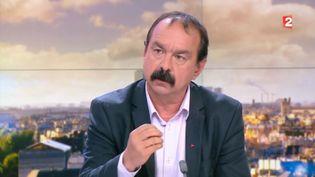 Le secrétaire général de la CGT, PhilippeMartinezàFrance 2,le 16 mai 2016 (FRANCE 2)
