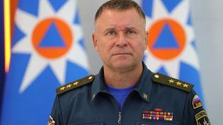 Evguéni Zinitchev, ministre russe des Situations d'urgence, à Moscou, lors d'une réunion sur des inondations, le 17 septembre 2019. (KREMLIN PRESS OFFICE / ANADOLU AGENCY / AFP)