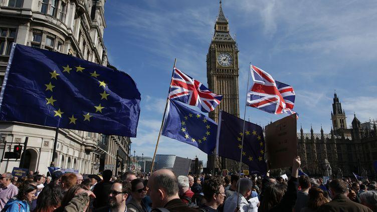 Des militants pro-européens défilentà Londres (Royaume-Uni), samedi 25 mars 2017. (DANIEL LEAL-OLIVAS / AFP)