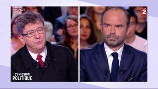 """Jean-Luc Mélenchon face à Edouard Philippe dans """"L'Emission politique"""" sur France 2, le 28 septembre 2017. (FRANCE 2)"""