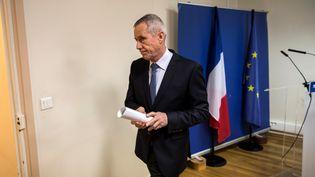 Le procureur de la République de Paris, François Molins, lors de sa conférence de presse sur les projets d'attentats déjoués, vendredi 25 novembre 2016. (LIONEL BONAVENTURE / AFP)